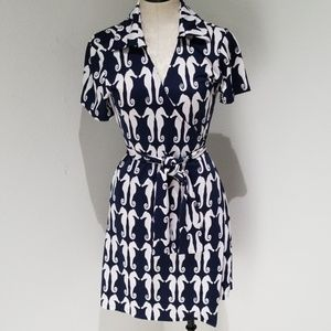 Tracy Negoshian seahorses wrap dress EUC medium